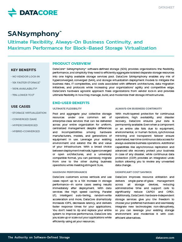 SANsymphony Data Sheet