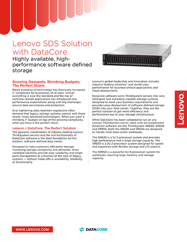 Lenovo SDS Solution with DataCore