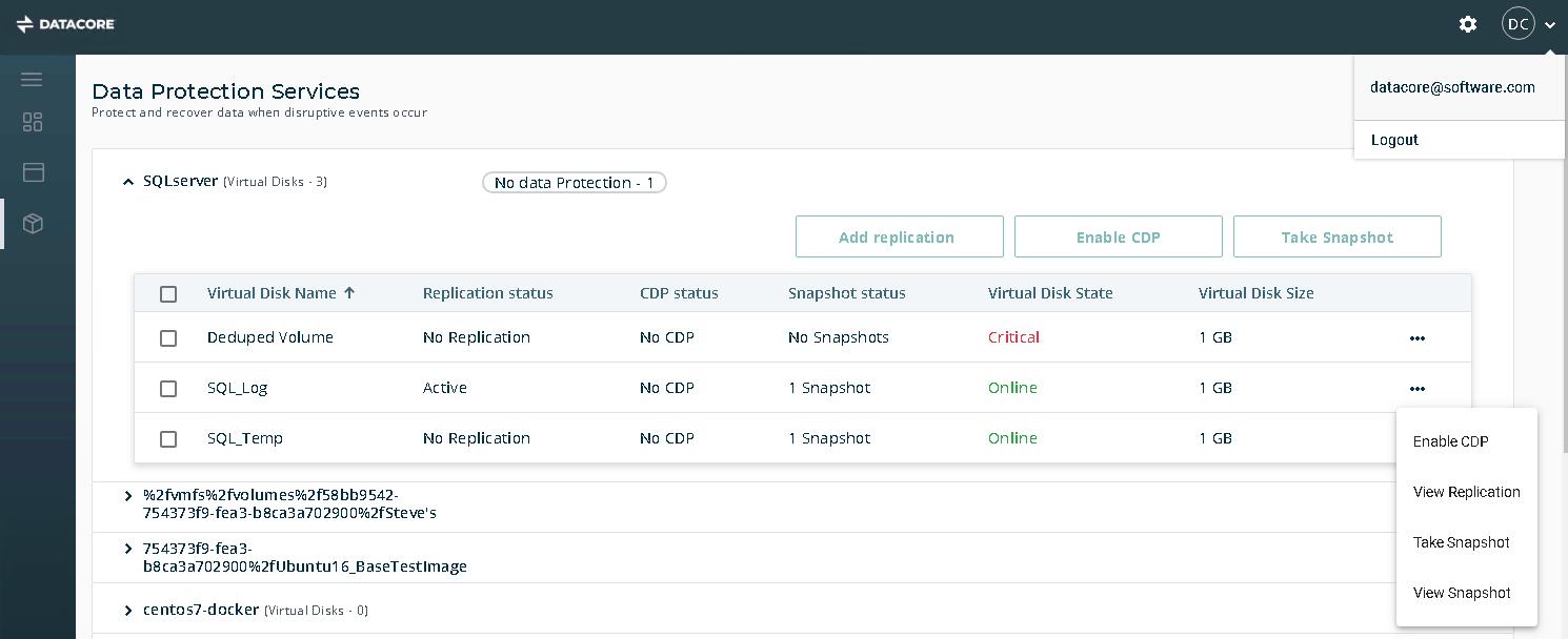 Datenschutzdienste über Webkonsole