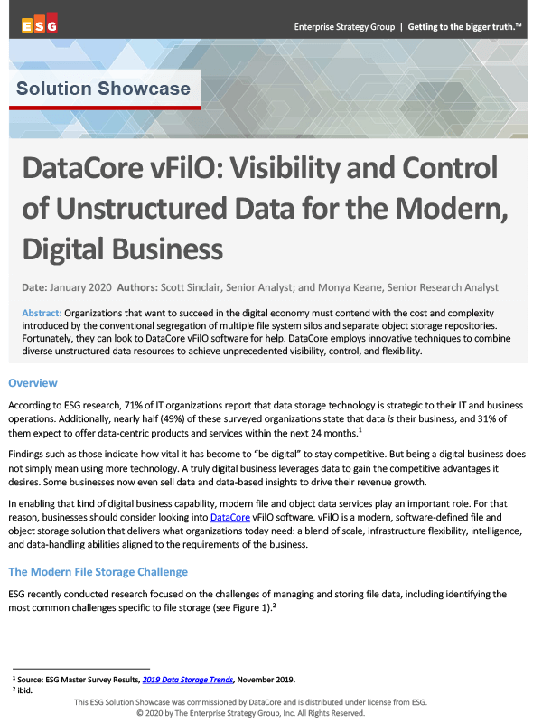 DataCore vFilO: Visibility and Control of Unstructured Data for the Modern, Digital Business