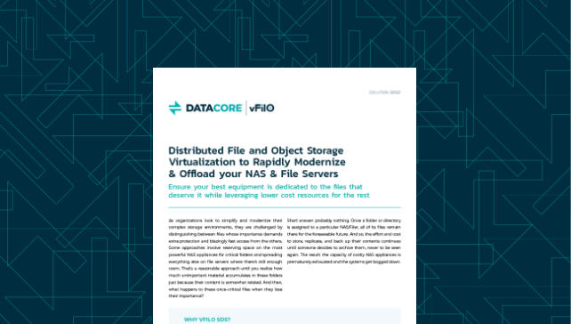 Distributed File and Object Storage Virtualization to Rapidly Modernize & Offload your NAS & File Servers