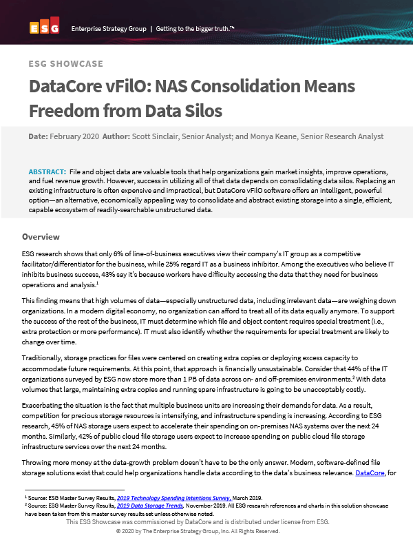 DataCore vFilO: NAS Consolidation Analyst Report Thumb