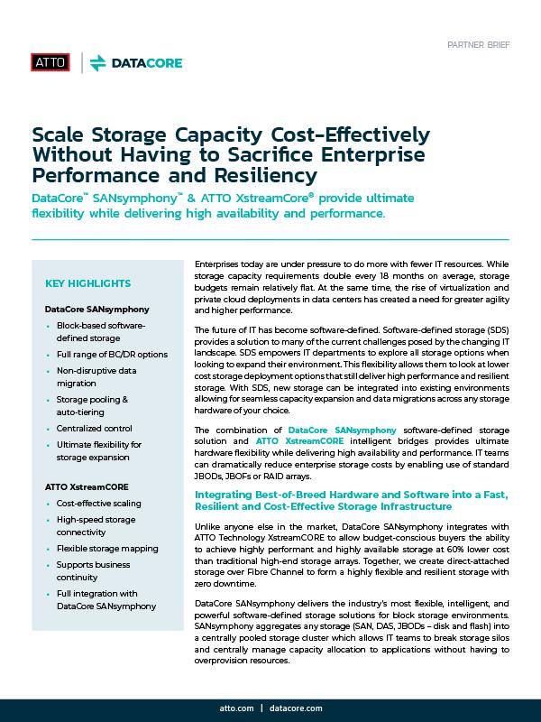 scale storage capacity datacore atto